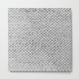 Black & White Hand Drawn ZigZag Pattern Metal Print