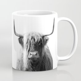Highland cow | Black and White Photo Coffee Mug