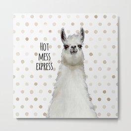 Hot Mess Llama Metal Print