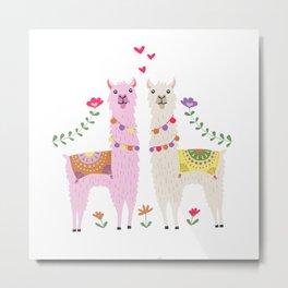 Llama Pattern Metal Print