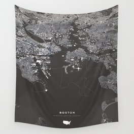Bosston - City Map I Wall Tapestry