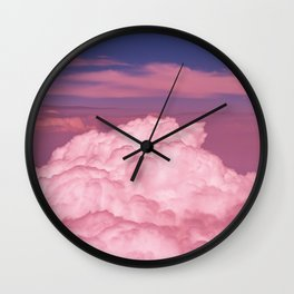 Pink Cotton Candy Clouds Wall Clock