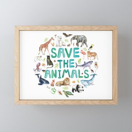 Watercolor Save the Animals Framed Mini Art Print