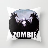 zombie Throw Pillows featuring ZOMBIE by Zombie Rust