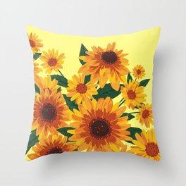 September Garden. Yellow flowers Throw Pillow