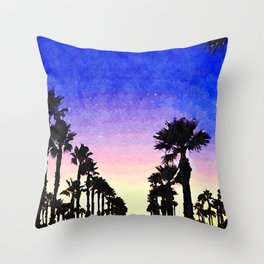 Silhouetted Palm Trees at Sunrise Throw Pillow