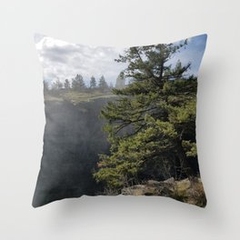 Beside The Falls, Beautiful Old Pine Tree Stands Sentry Beside A Watefall Throw Pillow