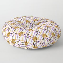 Orange Tabby Cat Plaid Floor Pillow