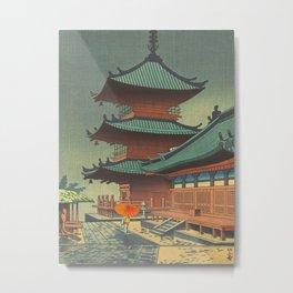Asano Takeji-Rain In Kiyomizu Temple Vintage Japanese Woodblock Print Metal Print