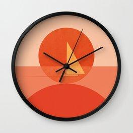 Abstraction_Sunset_Ocean_Sailing_Minimalism_001 Wall Clock