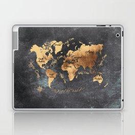 world map 147 gold black #worldmap #map Laptop & iPad Skin