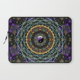 Purple Yin Yang Sacred Geometry Fractals Laptop Sleeve