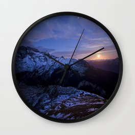 Moon rising above Swiss Alps Wall Clock