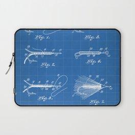 Fly Fishing Patent - Fisherman Art - Blueprint Laptop Sleeve