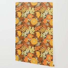 Brown, Yellow, Orange & Ivory Retro Flowers Wallpaper