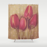 antique Shower Curtains featuring Antique Tulips by Jessica Torres Photography