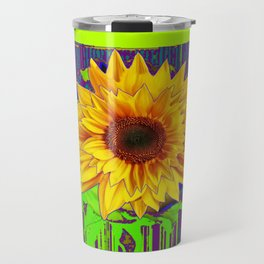 Yellow Sunflower Spring Yellow-Green Chartreues Modern Abstract Travel Mug