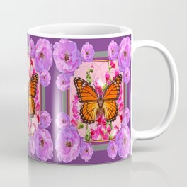 Puce-Purple-Pink Floral Monarch Butterfly Abstract Coffee Mug