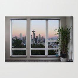Seattle Skyline Window View Canvas Print