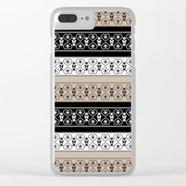 Scandinavian, simple, minimalist, ornament, black and brown Clear iPhone Case