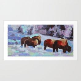 Bison in Yellowstone. Winter Art Print