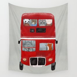 the little big red bus Wall Tapestry