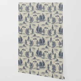 Alien Abduction Toile De Jouy Pattern in Blue Wallpaper