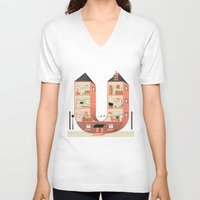 letter V-neck T-shirts featuring Letter U by Margarida Esteves