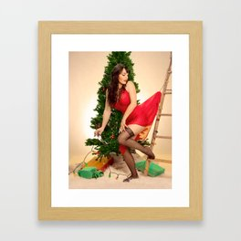 """Tree Trouble"" - The Playful Pinup - Christmas Tree Pin-up Girl by Maxwell H. Johnson Framed Art Print"