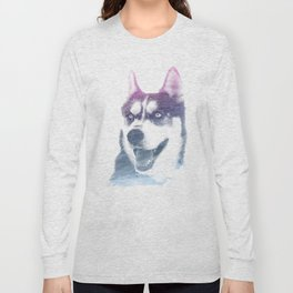 HUSKY SUPERIMPOSED WATERCOLOR Long Sleeve T-shirt
