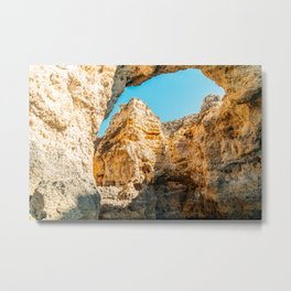 Natural Rock Formations In Lagos, Algarve Portugal, Travel Photo, Large Printable Photography Metal Print