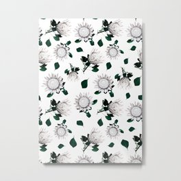 Protea Floral Pattern Metal Print