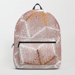 Elegant Geometric Gold Snowflakes Holiday Pattern Backpack