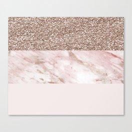 Portofino marble rose gold luxe Canvas Print