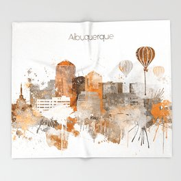 Albuquerque Warm Color Skyline Throw Blanket