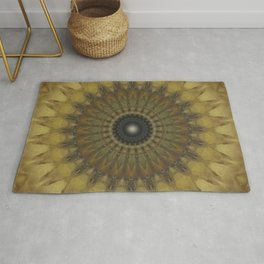 Mandala in golden tones Rug