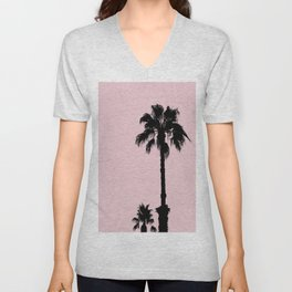 Palm Tree Silhouettes On Pink Unisex V-Neck