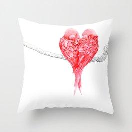 Red Heart Birds Love Throw Pillow