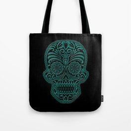 Intricate Teal Blue and Black Day of the Dead Sugar Skull Tote Bag