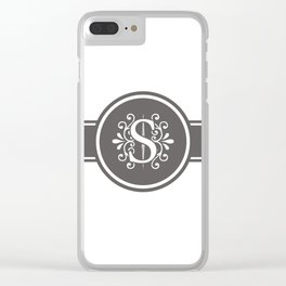 Monogram Letter S in Gray and White Clear iPhone Case