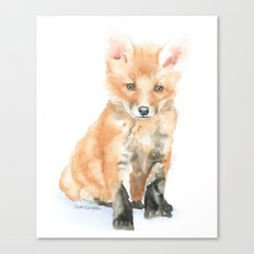 Baby Fox Watercolor Painting - Woodland Animal Canvas Print