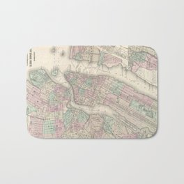 Vintage Map of NYC and Brooklyn (1865) Bath Mat