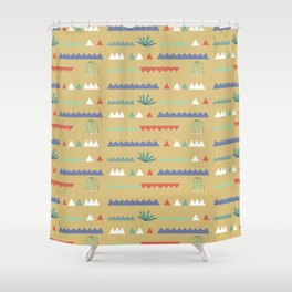 Geometrical Cacti Shower Curtain