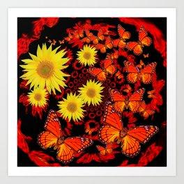 Lemon Yellow Sunflowers Monarch Butterflies Pattern Art Art Print