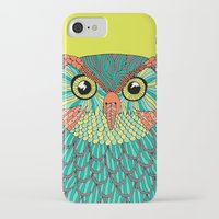 lime green iPhone & iPod Cases featuring owl - Lime green by bluebutton studio