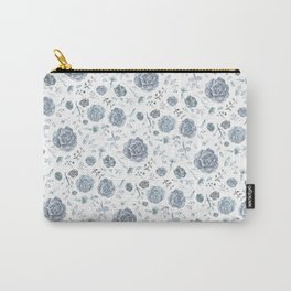 Flower Pattern - Gray/Blue/Charcoal Carry-All Pouch