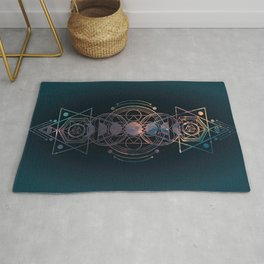 Dark Moon Phase Nebula Totem Rug