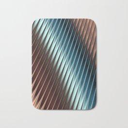 Stripey Pins Teal & Taupe - Fractal Art Bath Mat