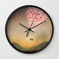 never stop exploring Wall Clocks featuring NEVER STOP EXPLORING V by Monika Strigel