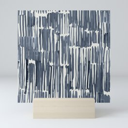 Simply Bamboo Brushstroke Indigo Blue on Lunar Gray Mini Art Print